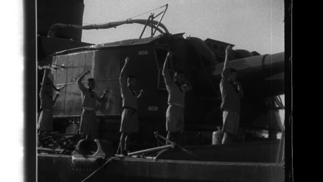 japanese naval crews exercise on the deck of the gunboat thai navy officers and soldiers signal with flags - battleship stock videos & royalty-free footage