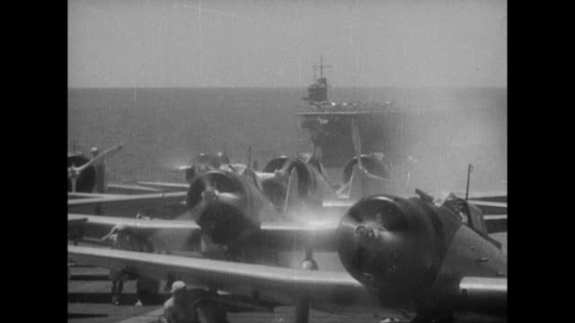 japanese navy type zero and type 97 carrier attack bombers take off from japanese fleets traveling across the indian ocean bombard trincomalee and... - military ship stock videos and b-roll footage