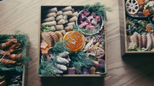 japanese new year's eve food osechi ryori - japanese food stock videos & royalty-free footage