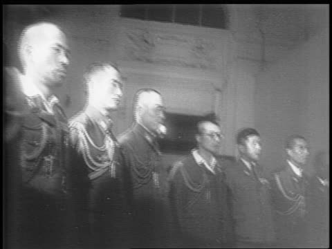 japanese officials inside manila's city hall / american colonel sidney mashbir speaks with lieutenant general torashiro kawabe kawabe looks for... - japanese surrender stock videos and b-roll footage