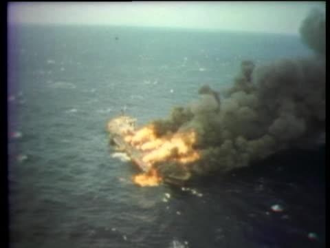 japanese oil tanker burns in tokyo bay. - tokyo bay stock videos & royalty-free footage
