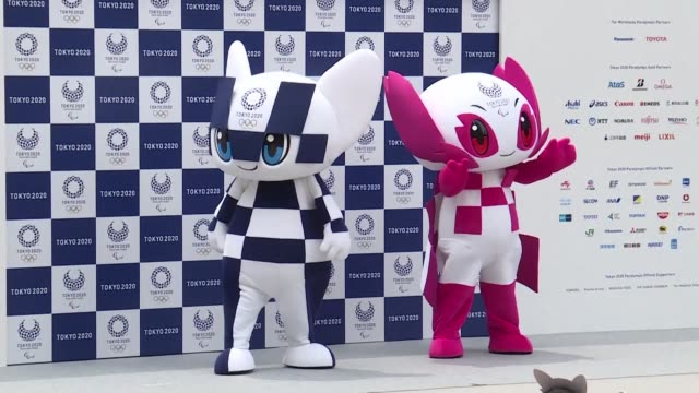 vídeos de stock, filmes e b-roll de japanese organisers formally introduce their doe eyed 2020 olympic mascots to the world christening them with superhero names that could provide a... - doe