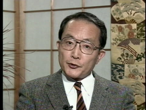japanese politician masao kunihiro discusses japan's role in the persian gulf war. - (war or terrorism or election or government or illness or news event or speech or politics or politician or conflict or military or extreme weather or business or economy) and not usa点の映像素材/bロール