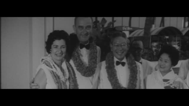 Japanese Prime Minister Hayato Ikeda traveled Canada Hawaii and came back to Japan /Hayato Ikeda and his wife arriving in Canada Rising Sun Flag...