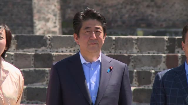 japanese prime minister shinzo abe and his wife visit the prehispanic site of teotihuacan with mexican president enrique pena nieto on the last day... - prime minister stock videos & royalty-free footage