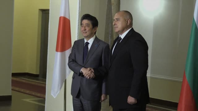 Japanese Prime Minister Shinzo Abe arrives in Bulgaria as part of a six nation tour of Europe as he hopes to rally support for his firm policy...