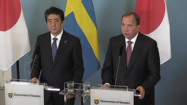 Japanese Prime Minister Shinzo Abe holds a joint press statement with his Swedish counterpart Stefan Lofven on a visit to Stockholm