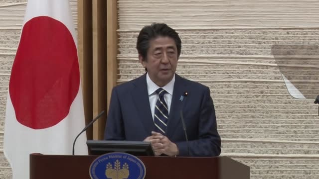 japanese prime minister shinzo abe meets the press in tokyo on may 14 to announce the lifting of a coronavirus pandemic state of emergency in 39 of... - state of emergency stock videos & royalty-free footage