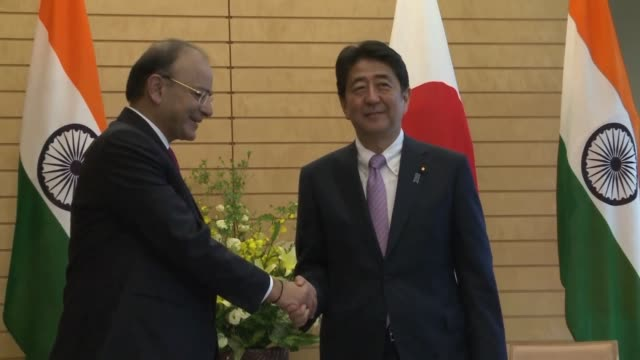 Japanese Prime minister Shinzo Abe meets with Indian Defence minister Arun Jaitley in Tokyo