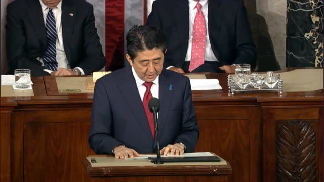 japanese prime minister shinzo abe offers remarks to us lawmakers during a joint session of congress as part of visit - joint session of congress stock videos and b-roll footage
