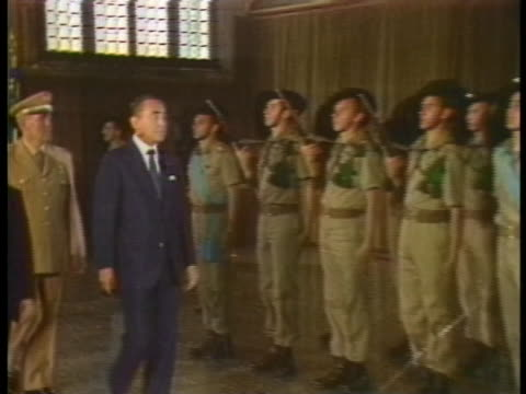 japanese prime minister yasuhiro nakasone and italian prime minister amintore fanfani show respect to an honor guard at the venice economic summit - (war or terrorism or election or government or illness or news event or speech or politics or politician or conflict or military or extreme weather or business or economy) and not usa video stock e b–roll