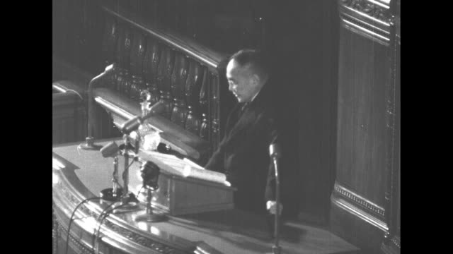 japanese prime minister yoshida shigeru reads speech to the japanese diet from rostrum - lectern stock videos & royalty-free footage