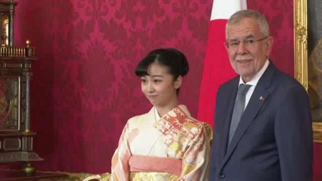 vídeos de stock, filmes e b-roll de japanese princess kako meets austrian president van der bellen in vienna on her first international trip - cultura austríaca