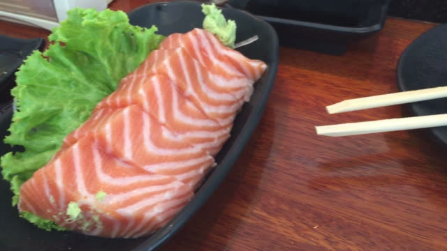 hd : japanese restaurant , sushi bar - toro fish stock videos and b-roll footage