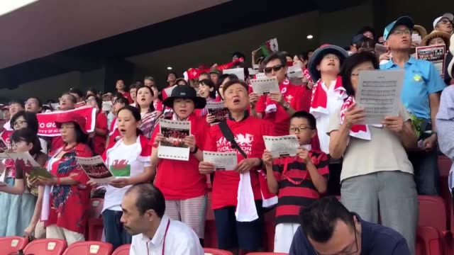 japanese rugby fans made the welsh team feel at home in kitakyushu by singing their national anthem. their rendition of land of my fathers ended with... - fukuoka prefecture stock videos & royalty-free footage