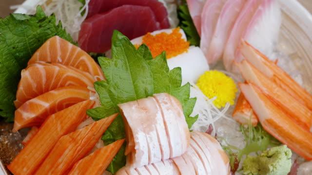 japanese sashimi set mix - sashimi stock videos & royalty-free footage
