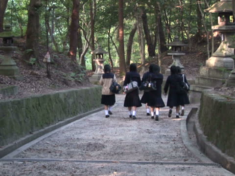 ntsc japanese school girls walking in a historic park - 2007 stock videos & royalty-free footage