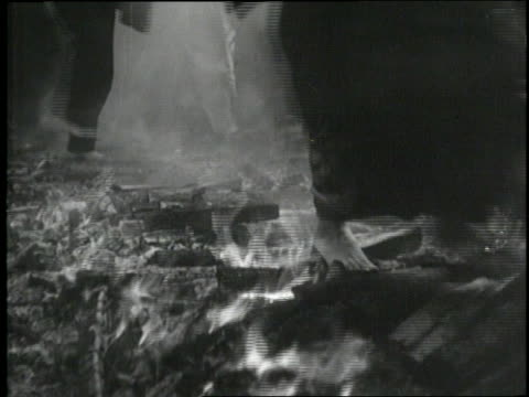 japanese shinto monks walk over burning wood - monk stock videos and b-roll footage