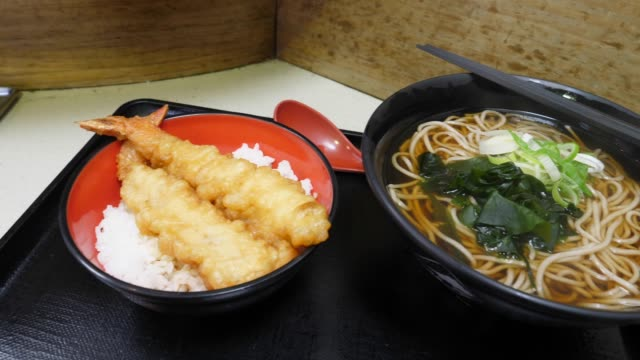 japanese shrimp or prawn tempura food meal set and soba with soup for lunch - soba stock videos & royalty-free footage