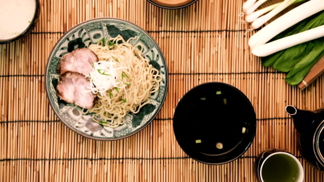 japanese soba noodle top view - eating utensil stock videos and b-roll footage