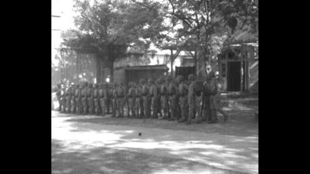 vídeos y material grabado en eventos de stock de japanese soldiers arrive at the legation in peking china / company falls in / company falls out / company falls in / four soldiers arrive at... - noreste de china