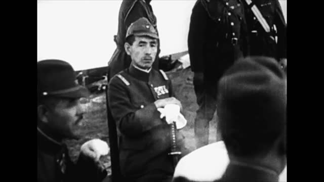 japanese soldiers banzai saluting / japanese army officers - japan stock videos & royalty-free footage