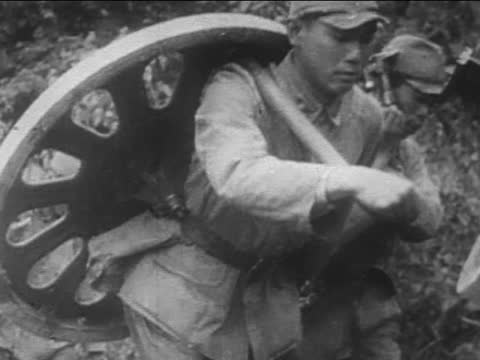 japanese soldiers crossing river/ crawling in grass/ walking with heavy weapon and ammunition on their backs - sports training stock videos & royalty-free footage