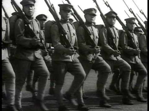 japanese soldiers marching japanese men reading public postings japanese caucasian soldiers outdoors talking japanese business men in office male w/... - marching stock videos and b-roll footage
