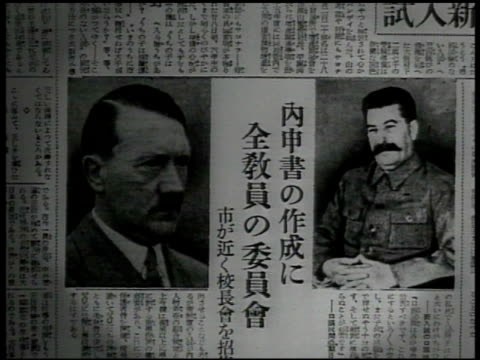 japan japanese soldiers standing at attention cu japanese soldier japanese newspaper photos of hitler stalin radio tower radio control room... - japanese script stock videos & royalty-free footage
