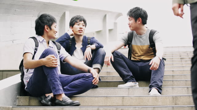 MS Japanese students having a break on steps