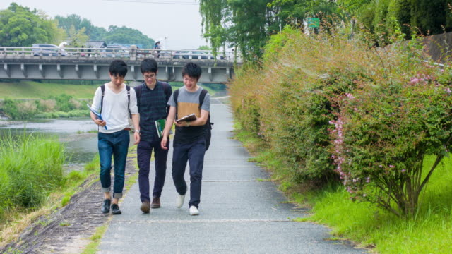 Japanese students walking back home from university