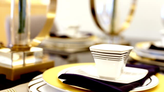 japanese style crockery on dining table in modern dining room