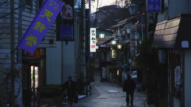 japanese style houses and ryokan (traditional japanese inn) stand along the both side of the stone pavement alley in dusk at shibu onsen (shibu hot spring) yamanouchi-machi, nagano japan on feb. 18 2019. - jigokudani monkey park stock videos & royalty-free footage