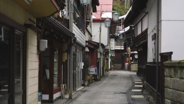 japanese style houses and ryokan (traditional japanese inn) stand along the both side of the stone pavement alley at shibu onsen (shibu hot spring) yamanouchi-machi, nagano japan on feb. 18 2019. - jigokudani monkey park stock videos & royalty-free footage