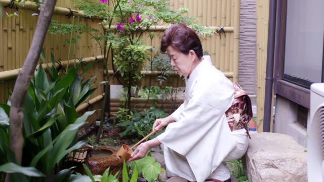 vídeos y material grabado en eventos de stock de maestro de ceremonia del té japonés demostrando cómo lavarse las manos de la manera tradicional - sado