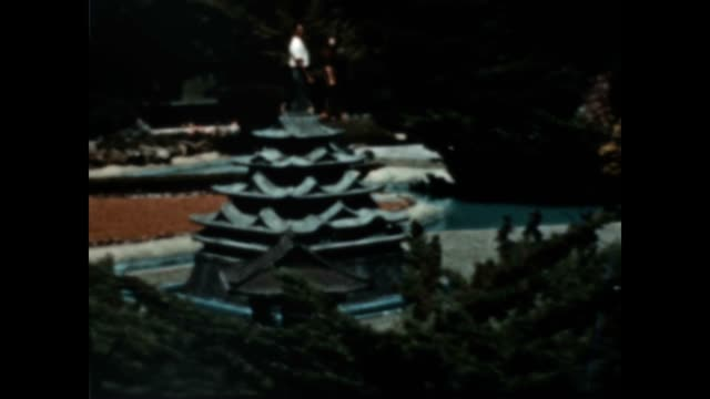 japanese tea garden in golden gate park from the early 1940's - buddhismus stock-videos und b-roll-filmmaterial