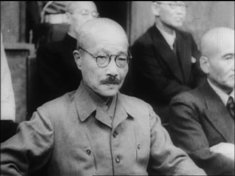 japanese tojo hideki sitting in courtroom at war crimes trial / tokyo / newsreel - war crimes trial stock videos and b-roll footage