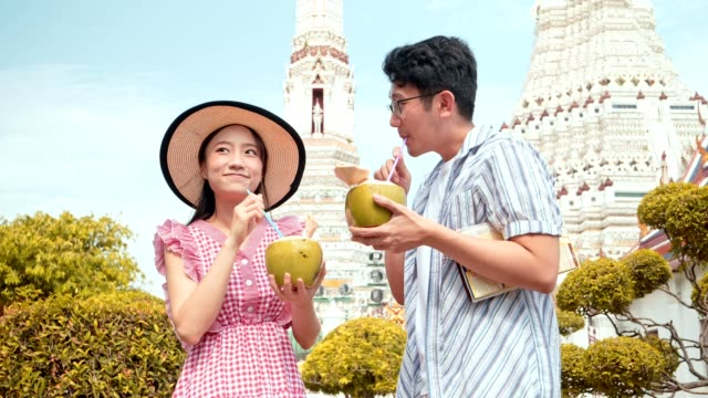 japanese touristor visit to thai temple(wat aroon) and drinking coconut water. - satoyama scenery stock videos & royalty-free footage