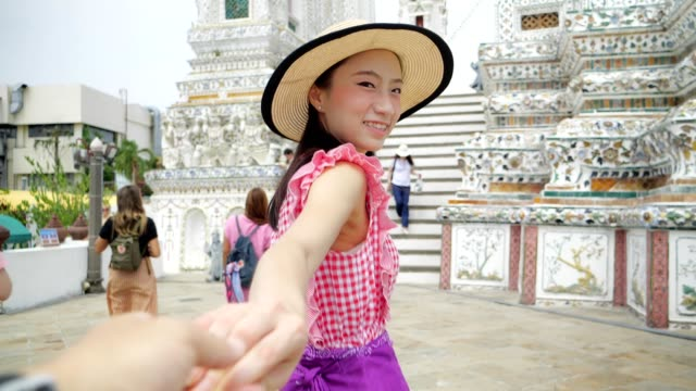 japanese touristor visit to thai temple(wat aroon) by boat. - pagoda video stock e b–roll