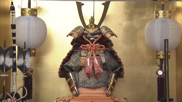cu tu japanese traditional doll, kyoto, japan - samurai stock videos & royalty-free footage