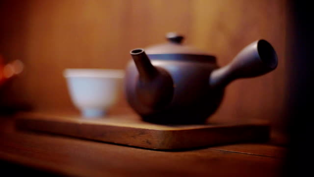 japanese traditional tea set on wooden background. - tea pot stock videos and b-roll footage