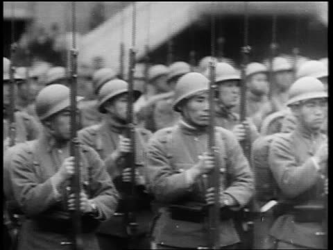 japanese troops standing in formation with guns / japan invading manchuria - 1931 stock videos & royalty-free footage