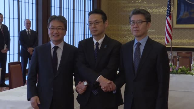 japanese us and south korean senior diplomats meet in tokyo for talks on the nuclear standoff with north korea - botschafter stock-videos und b-roll-filmmaterial