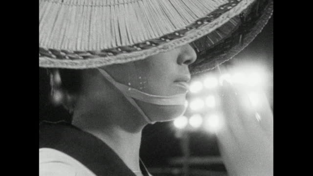 cu japanese woman dancing in awa dance festival; 1966 - handsome people stock videos & royalty-free footage