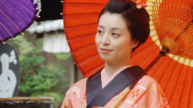 japanese woman in historic dress - parasol stock videos & royalty-free footage