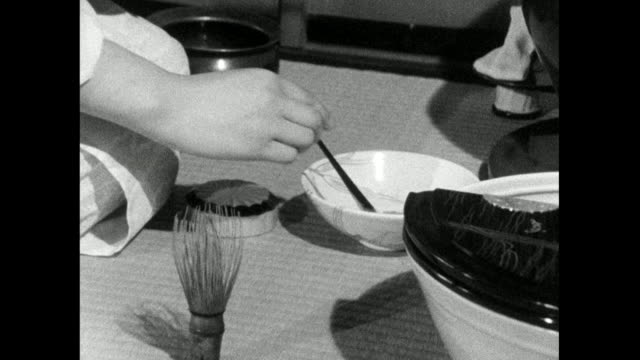 japanese woman performs tea ceremony indoors; 1966 - respect stock videos & royalty-free footage