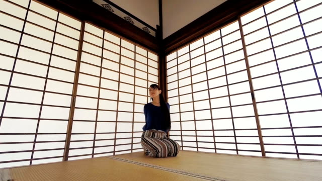 japanese woman relaxing in a traditional screened room - tatami mat stock videos and b-roll footage
