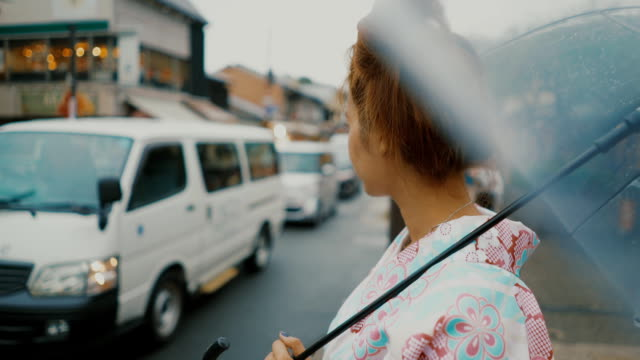 Japanese woman waiting Car