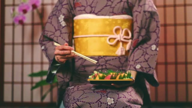 japanese woman wearing kimono - sushi video stock e b–roll