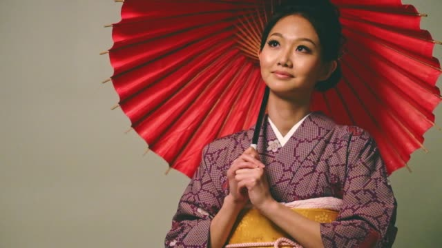 japanese woman wearing kimono - kimono stock videos and b-roll footage